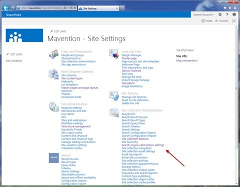 The 'Search engine optimization settings' link highlighted in Site Settings