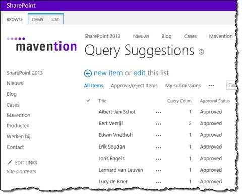 Mavention Query Suggestions' query suggestions stored in the Query Suggestions List