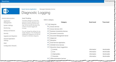 The 'Mavention Query Suggestions' logging category on the 'Diagnostic Logging' page in SharePoint 2013 Central Administration