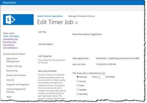 The details of the 'Mavention Query Suggestions' Timer Job in Central Administration