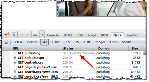 Firebug shows permanent redirect when requesting the site using the root URL.