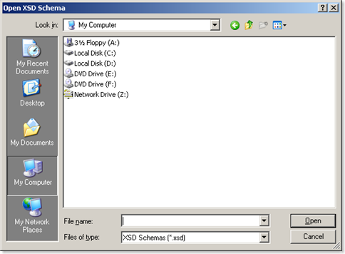Standard Windows XP/2003 Open/Save file dialog