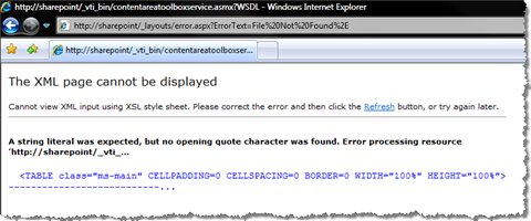 WSDL doesn't exist error when clicked on the Service Description link of the SharePointPublishingToolboxService