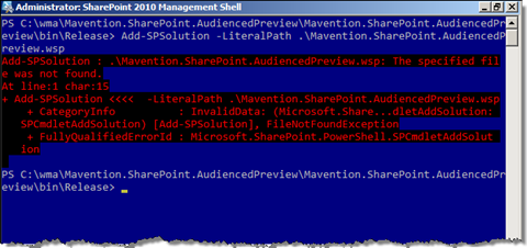 File Not Found exception after providing only the filename instead of the full path to the Add-SPSolution cmdlet