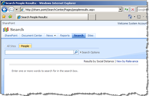 Default People Search Page in SharePoint displays no results unless a search query has been provided