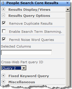 Configuring Results Query Options in the People Search Core Results Web Part