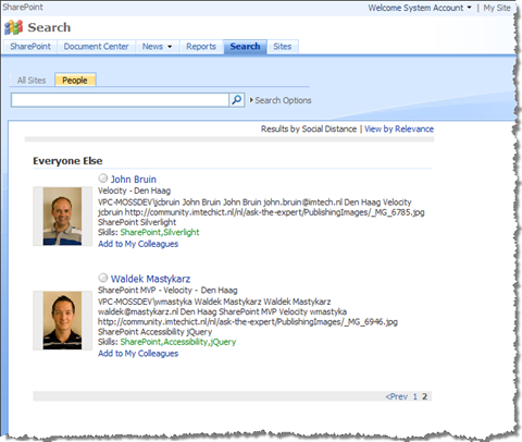 People Search displays some users with paging controls without providing any search query