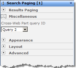 Configuring Miscellaneous options of the Search Paging Web Part