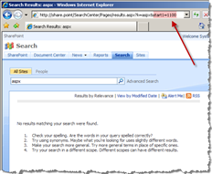 SharePoint Search displays the 'No results maching your search were found' message when invalid search results page requested