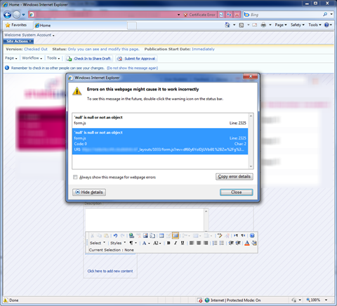 Screenshot with a JavaScript error which appears while editing text in the SharePoint Rich Text Editor in Internet Explorer 8