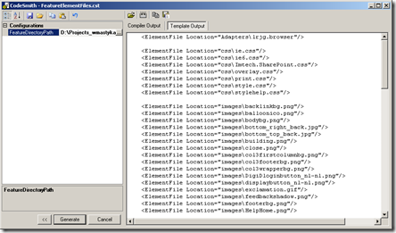 Generating the contents of Feature.xml file using the FeatureElementFiles template