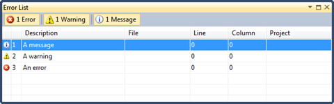 Messages from the logger displayed in the Visual Studio Error List window
