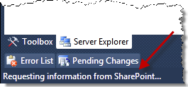 Message from Visual Studio SharePoint development tools in the Visual Studio status bar