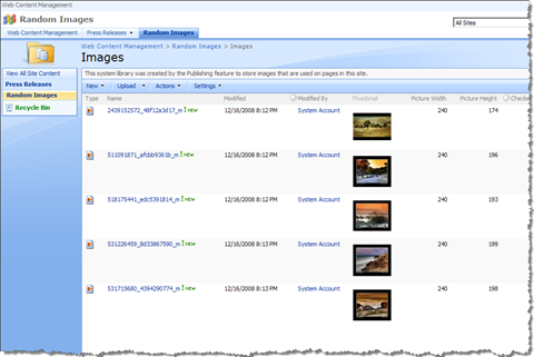SharePoint images list with a couple of images in it