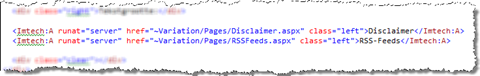 Example of using the extended anchor control: Variation relative links to contact page and RSS feeds