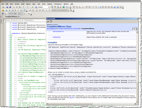 Viewing the XML comments in code using the Documentor plugin for DevExpress