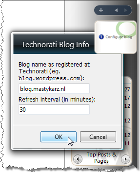 Configuring the Technorati Blog Info gadget