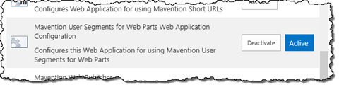 Activating the 'Mavention User Segments for Web Parts Web Application Configuration' Feature in Central Administration