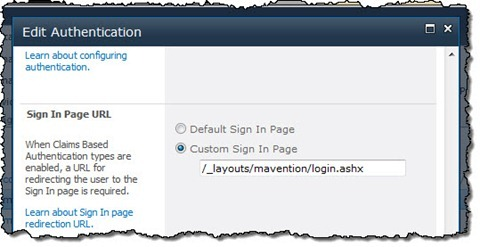 Configuring the Web Application's Sign In Page to point to the HTTP Handler