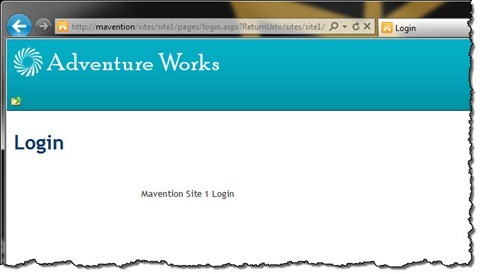 Login page of the Mavention Site 1 Site Collection