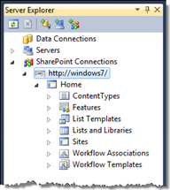 Exploring SharePoint content using the Visual Studio SharePoint development tools SharePoint explorer