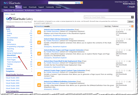 SharePoint Tools category on the Visual Studio Gallery