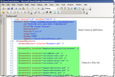 Contents of a typical Feature.xml file