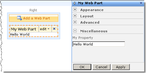 Sample Web Part that displays the text typed in the in the Web Part's properties