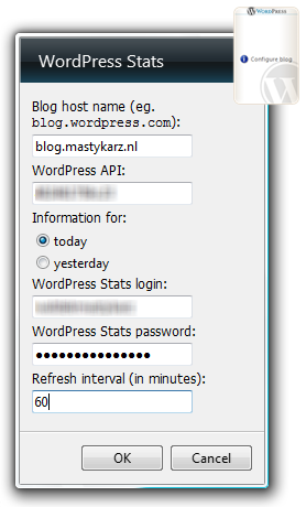Configuring the WordPress Stats Vista Sidebar Gadget...
