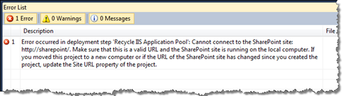 Error occurs during the Deployment Process if there is no Site Collection at the URL specified in the properties of the SharePoint Project