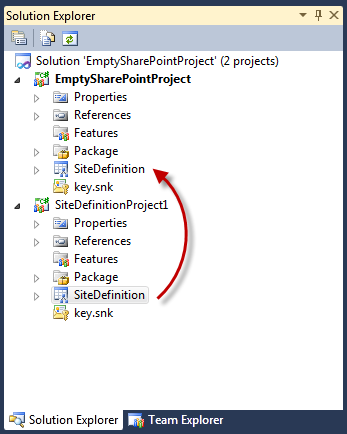 Moving the Site Definition SPI from the Site Definition SharePoint Project to an Empty SharePoint Project