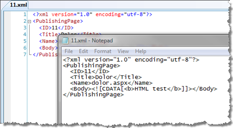 By changing the value of the encoding attribute to UTF-8 the XML file gets properly displayed using Visual Studio 2008