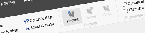 The Bucket button highlighted in the Ribbon in Sitecore Content Editor