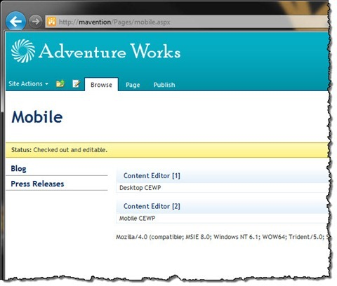 Two Content Editor Web Parts visible on a Publishing Page