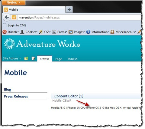 Mobile Content Editor Web Part displayed on a Publishing Page