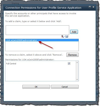 User Profile Service Application Permission screen showing an identity claim