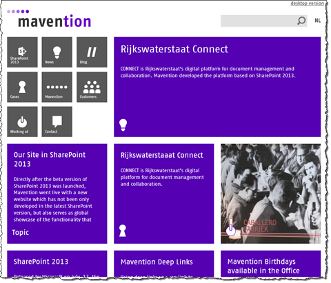 Tiles on the homepage of mavention.com