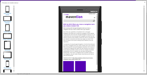 Previewing a draft content item on a mobile device