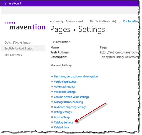 Catalog Settings link highlighted on the Library Settings page