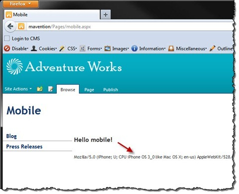 'Hello mobile' text displayed on a SharePoint 2010 Publishing Page