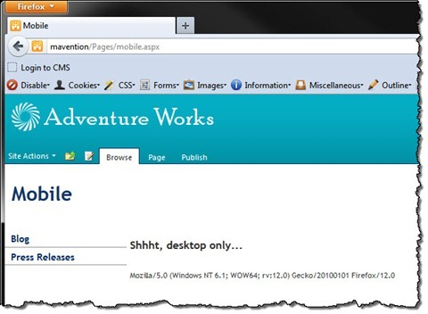 'Shhh, desktop only…' text displayed on a SharePoint 2010 Publishing Page