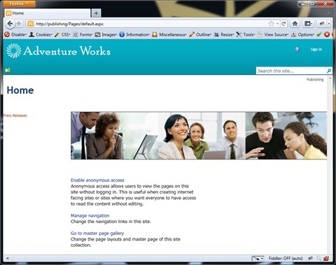 SharePoint 2010 website opened using a mobile browser after applying the mobile redirect workaround